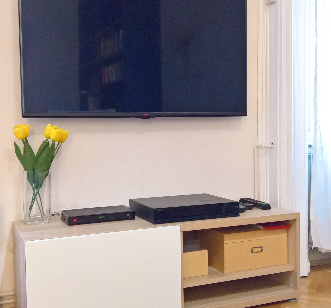 Large Flat Screen TV and DVD Library